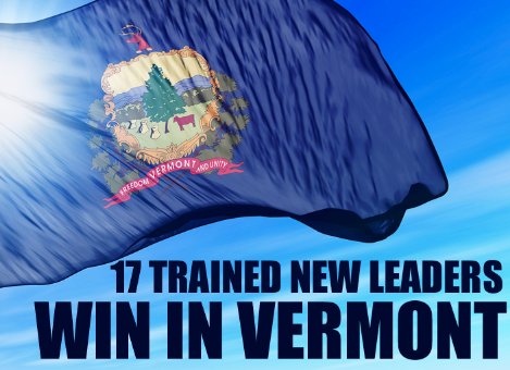 17 trained new leaders win in Vermont