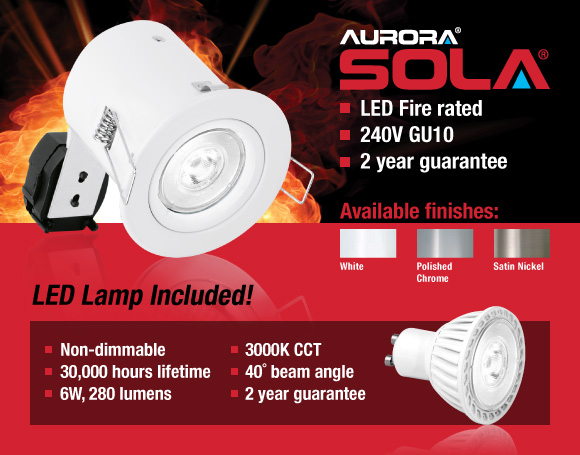 Aurora 6W Non-Dimmable LED Fire Rated Downlight Packs