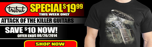 Tribut Apparel, 'When Music Really Matters'. New Tribut tee 'Attack Of The Killer Guitars' $19.99 this week only. Save $10 now! Offer ends 08/26/2014. Shop now.