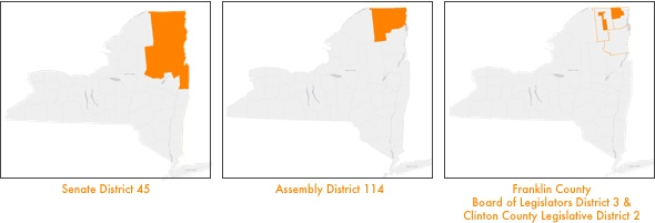 Image of New York Senate District 45, Assembly District 114, and on the third map, Franklin County Board of Legislators District 3/Clinton County Legislature District 2