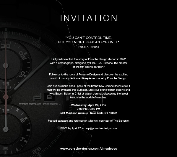 Invitation - Join us for an Eveing of Watches & Scotches at Porsche Design on Wednesday, April 29 at 7:00PM. RSVP@porsche-design.com