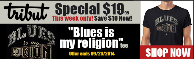 Tribut Apparel, 'When Music Really Matters'. New Tribut 'Blues Is My Religion' tee, $19.99 this week only. Save $10 now! Offer ends 09/23/2014. Shop now.