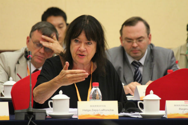 "Beijing, China Sept 5, 2014 ""One Belt One Road"" conference in Bejing,   Helga Zepp-LaRouche EIRNS/Stefan Tolksdorf"